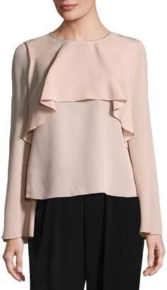 Badgley Mischka Women's Silk Ruffle Top