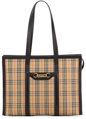 Burberry Link 1983 Check Shoulder Tote Bag