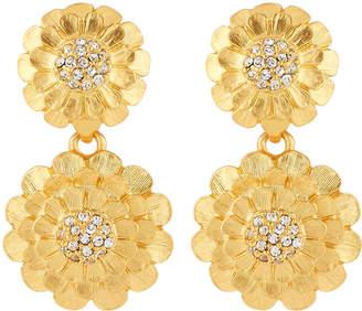 Kenneth Jay Lane Satin Crystal Flower Drop Earrings