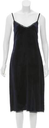 Prada Velvet Lace-Trimmed Dress