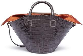 Trademark Detachable insert small croc embossed leather basket bag