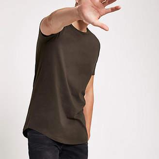 River Island Mens Dark Brown curved hem longline T-shirt