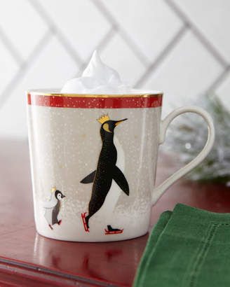 Portmeirion Sara Miller Red Penguin Holiday Mugs, Set of 4