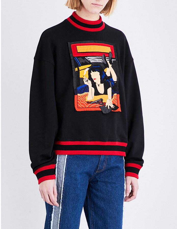 Ground Zero Mia appliqué jersey sweatshirt