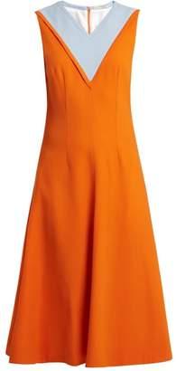 Emilia Wickstead Arlene Contrast Panel Stretch Crepe Dress - Womens - Orange