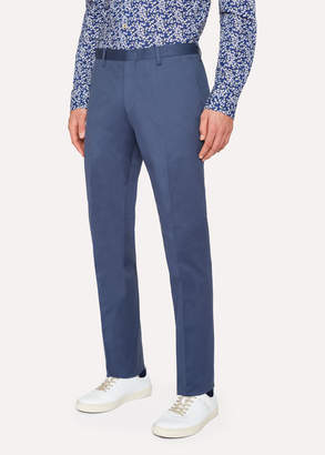 Paul Smith Men's Slim-Fit Slate Blue Stretch-Cotton Twill Pants
