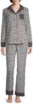 Liz Claiborne Notch Collar Flannel PJ Set