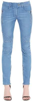 Pierre Balmain Quilted Stretch Cotton Denim Jeans