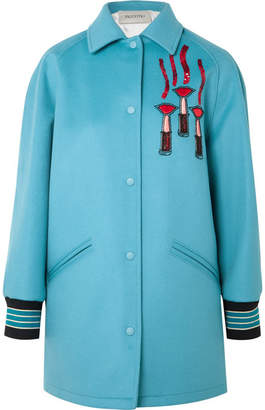 Valentino Embellished Appliquéd Felt Jacket - Blue