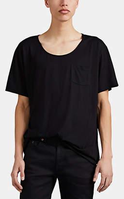 Saint Laurent Men's Scoopneck Cotton T-Shirt - Black