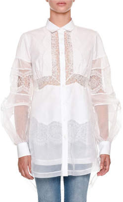 Ermanno Scervino Long-Sleeve Button-Front Sheer Organza Blouse with Lace Trim