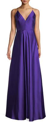 ML Monique Lhuillier V-Neck Sleeveless Mikado Ball Gown