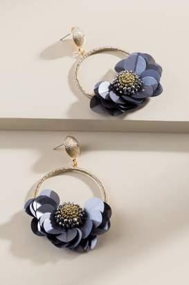 francesca's Yvette Floral Circle Drop Earrings - Black