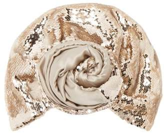 Julia Clancey - Sequin Embellished Silk Turban Hat - Womens - Grey