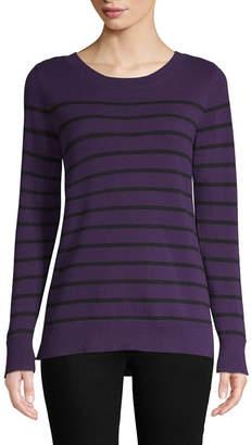 Liz Claiborne Long Sleeve Crew Neck Stripe Pullover Sweater
