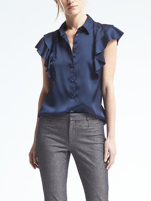 Banana Republic Easy Care Flutter-Sleeve Button Shirt