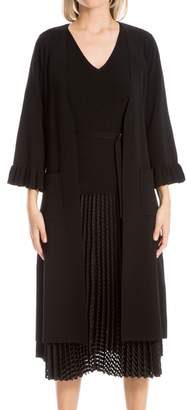 Leon Max Fully Fashioned Knit Ruffled Long Cardigan