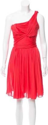 Halston One-Shoulder Plisse Dress
