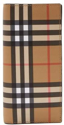 Burberry Vintage Check Leather Wallet - Mens - Black