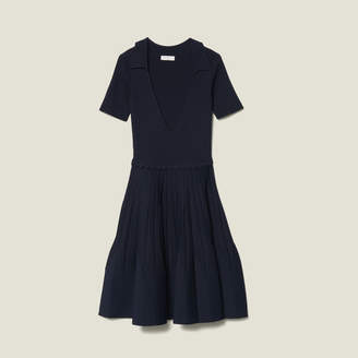 Sandro Knit Dress With Shirt Collar