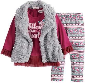 Little Lass Baby Girl Faux-Fur Vest, Peplum Top and Floral Leggings Set