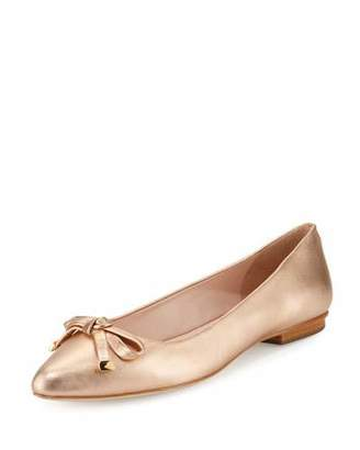 Kate Spade New York Emma Leather Bow Ballerina Flat, Rose Gold $198 thestylecure.com