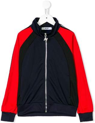 MSGM block colour zipped jacket