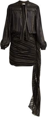Saint Laurent Striped tie-neck silk-blend mini dress