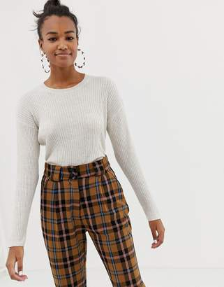 Bershka crew knit jumper in cream