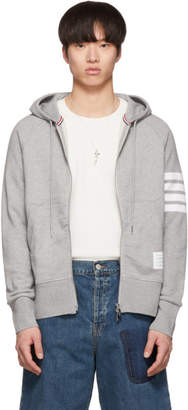 Thom Browne Grey 4-Bar Classic Zip-Up Hoodie