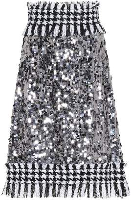 Dolce & Gabbana Sequined houndstooth skirt