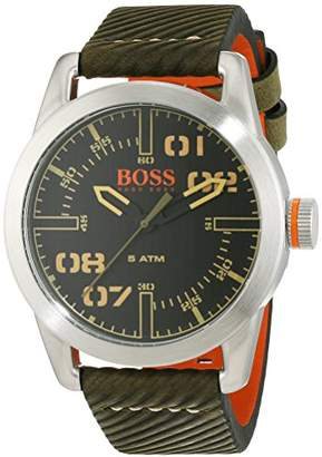 BOSS ORANGE Hugo Oslo Men's Quartz Analogue Classic Green Leather Strap 1513415