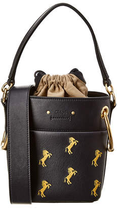 Chloé Roy Mini Horse Embroidered Leather Bucket Bag