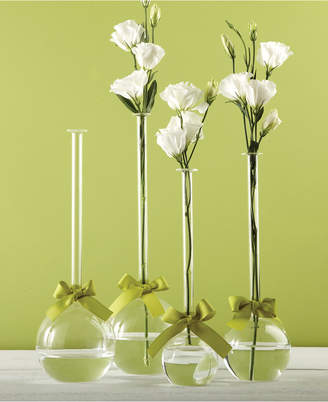 Twos Company Two's Company Sleek And Chic Set of 4 Bubble Vases with Sage Green Ribbon Includes 4 Sizes