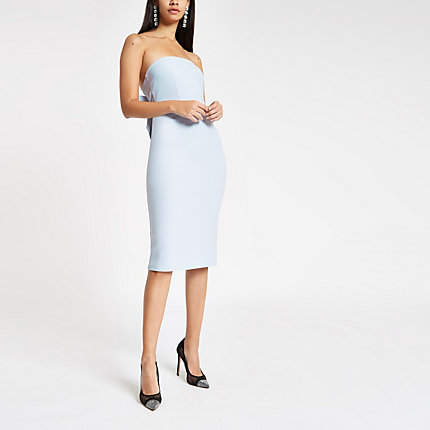 Womens Blue bow bandeau bodycon dress