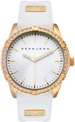 Sean John Men Dress Sport 3 Hands White Silicon Strap Watch 46mm