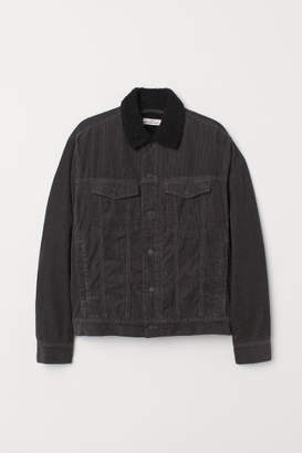 H&M Pile-lined Corduroy Jacket - Gray
