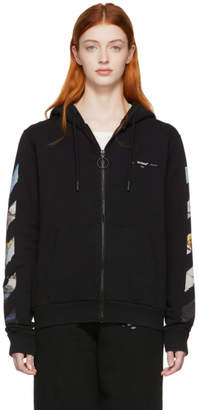 Off-White Black Diag Multicolor Zipped Hoodie