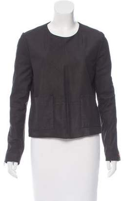 J Brand Leather Zip-Accented Top