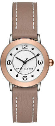 Marc Jacobs Riley Two-Tone Stainless Steel Grey Leather Strap Bracelet Watch