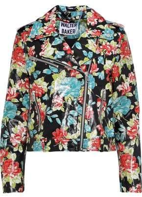 Walter W118 By Baker Lisa Floral-print Glossed-leather Biker Jacket