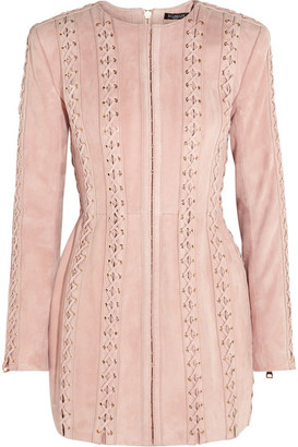 Balmain - Lace-up Suede Mini Dress - Pastel pink $9,655 thestylecure.com