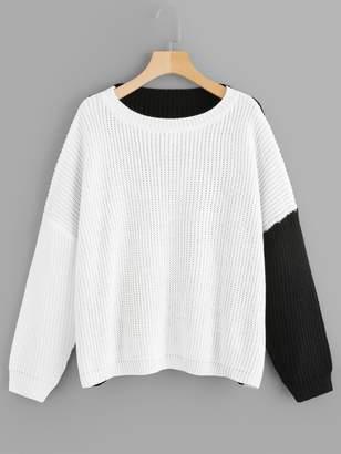 Shein Plus Drop Shoulder Two-tone Sweater
