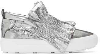 MSGM Silver Metallic Ruffle Slip-On Sneakers