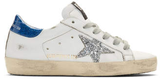 Golden Goose SSENSE Exclusive White and Blue Glitter Superstar Sneakers