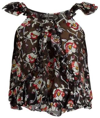 Isabel Marant Piety Silk Blend Floral Fil Coupe Top - Womens - Black Print