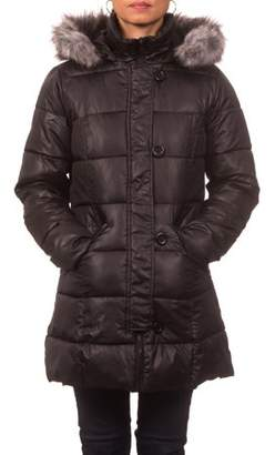 Unbranded Junior Plus Down Blend Hooded Puffer Coat with Detachable Faux Fur Rim