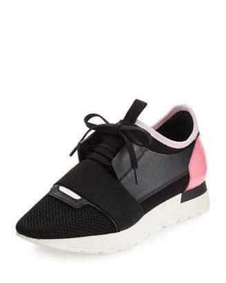 Balenciaga Mixed-Media Leather Lace-Up Sneaker, Black/Pink $695 thestylecure.com