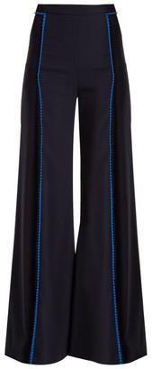 Galvan - Chan Chan High Rise Wide Leg Trousers - Womens - Navy