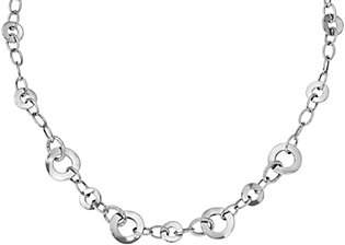 "QVC 14K White Gold Polished Textured Disk 18"" Neckl ace, 7.6g"